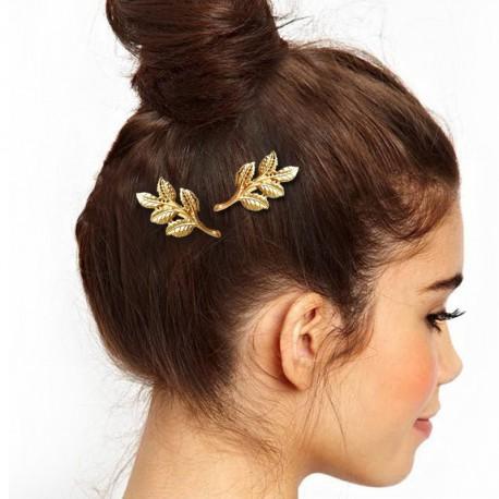 Spony do vlasů - Větev s listy (zlatá)