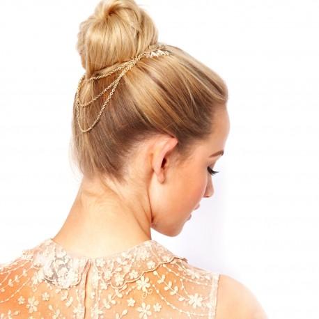 Ozdoba do vlasů - Větvičky s listy spojené 3 řetízky (zlatá barva)