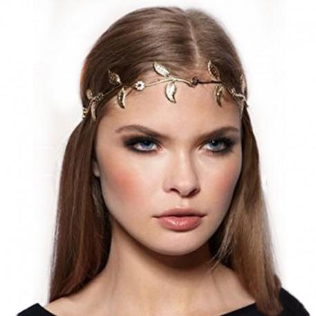 Ozdoba do vlasů - Čelenka ze zlatých listků