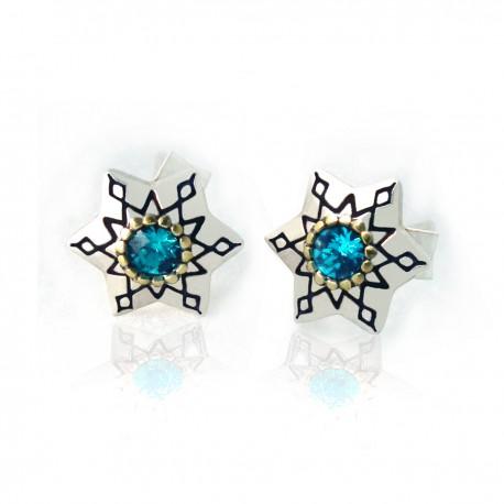 """Náušnice """"Blue Stars"""" 925 Sterlingové stříbro"""