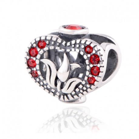 """Přívěsek na náramek """"Blooming heart"""" 925 Sterlingové stříbro"""