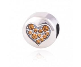 """Přívěsek na náramek """"Orange Heart"""" 925 Sterlingové stříbro"""