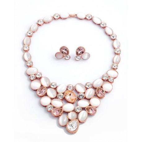 Luxusní náhrdelník s náušnicema pozlacený 18K zlatem