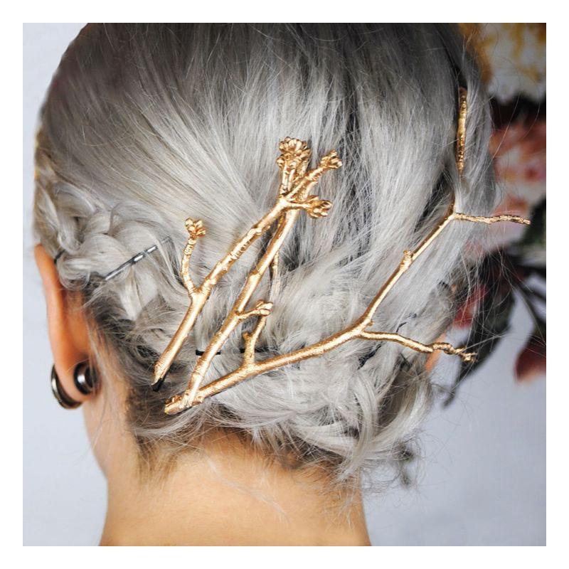 043e2db39cb Spony do vlasů - sada zlatých větviček ...