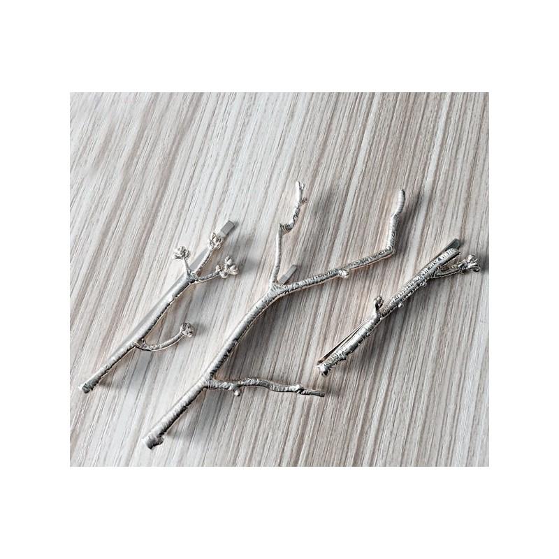 ... Spony do vlasů - sada stříbrných větviček cf22ebe4a7