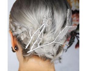 Spony do vlasů - sada stříbrných větviček