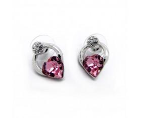 Náušnice s růžovým krystalem SWAROVSKI