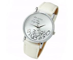 """Unisex hodinky """"Who cares..."""" s bílým páskem"""