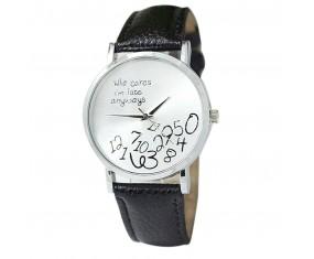 """Dámské hodinky """"Who cares..."""" s černým páskem"""