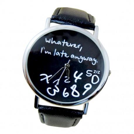 """Unisex hodinky """"Whatever..."""" s černým páskem"""
