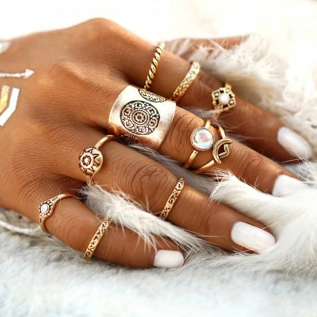 "Sada prstýnků ""Boho Shine gold"""