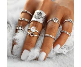 """Sada prstýnků """"Boho Shine silver"""""""