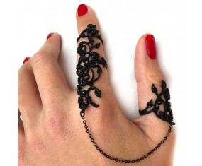 "Sada prstýnků ""Douha Flower"" Black"