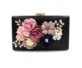 """Společenská kabelka-černá """"Flower"""""""