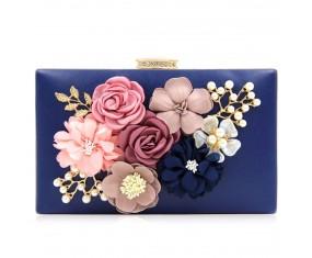 "Společenská kabelka-modrá ""Flower"""