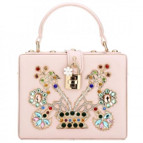 """Luxusní společenská kabelka-růžová """"BB"""""""