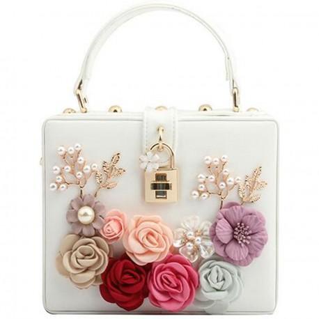 """Luxusní společenská kabelka - bílá """"Bloom"""""""