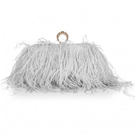"""Luxusní večerní kabelka """"Feather Dream - gray & gold"""""""