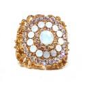 Pozlacený prsten osazený achátem a zirkony