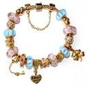 """Pozlacený náramek """"Blue&Pink"""" Muránské sklo a krystaly"""