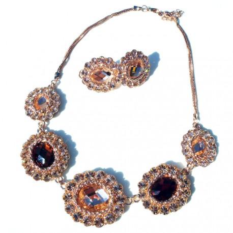 Luxusní náhrdelník s náušnicema pozlacený
