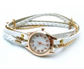 Kožený bílý náramek s hodinkami