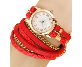 Kožený červený náramek s hodinkami