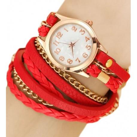 Kožený náramek s hodinkami červený
