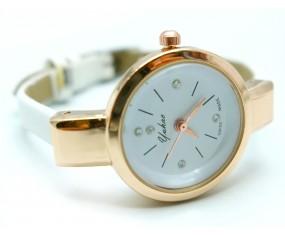 Dámské hodinky s bílým koženým páskem