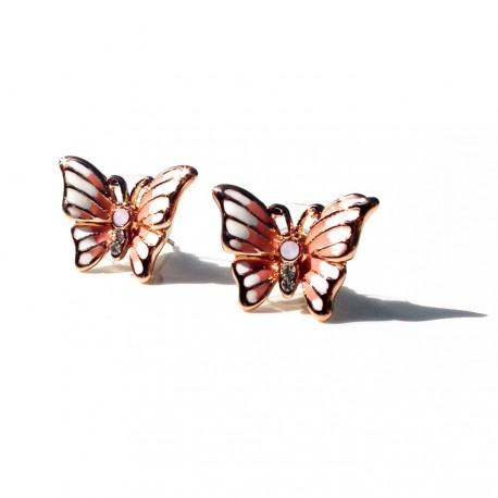 Náušnice s růžovými motýlky