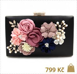 černé společenské kabelky s květinovými motivy